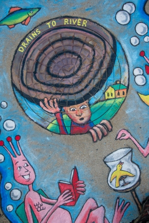Storm Drain Mural - Sea Monkeys