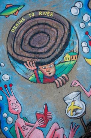 Storm Drain Mural - Sea Monkeys